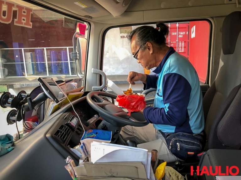 Uncle Foong having lunch on the prime mover