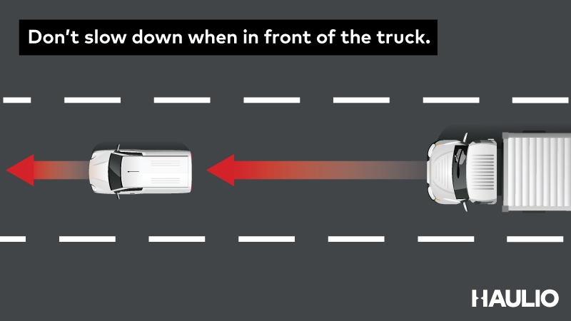 Don't slow down when in front.