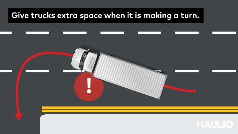 Give trucks extra space when its turning.