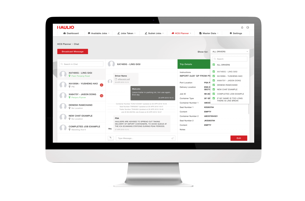 Haulage Operations Platform - Driver Chat Function