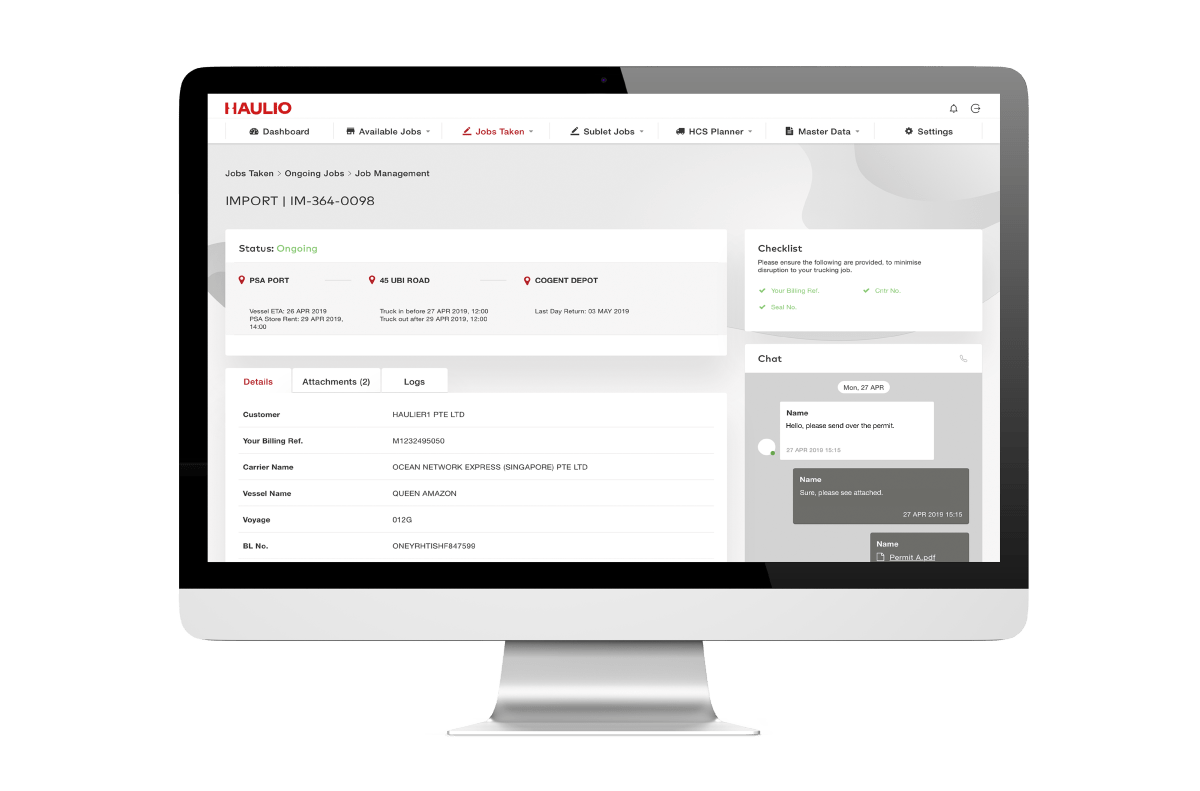 Haulage Operations Platform - Job Management Page