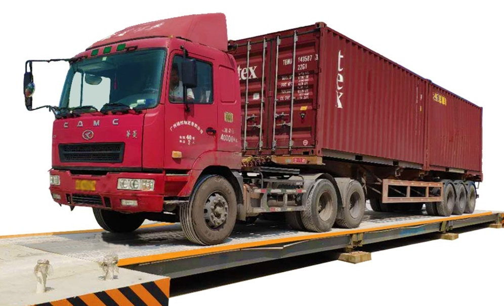 Prime mover with container on a weighbridge